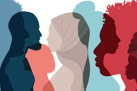 Illustration of colourful outlines of people on white background