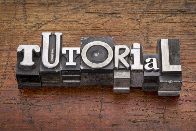 Tutorial word in metal type
