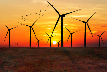 Sunset and wind turbines
