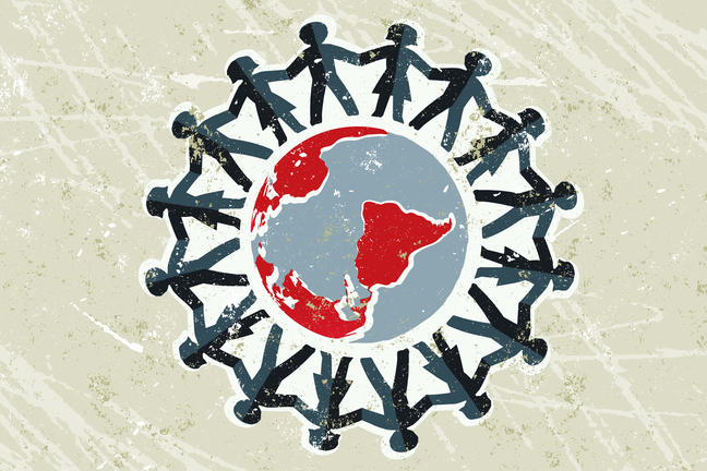 A group of people hold hands and form a protective ring around the world. Illustration.