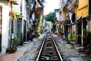 Life of people who live near the railway in Hanoi ancient town.