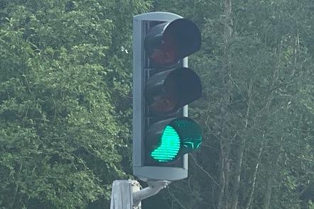 Traffic light showing green.