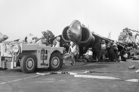 A RAF Harrier is prepared for another sortie during the Falkland War.