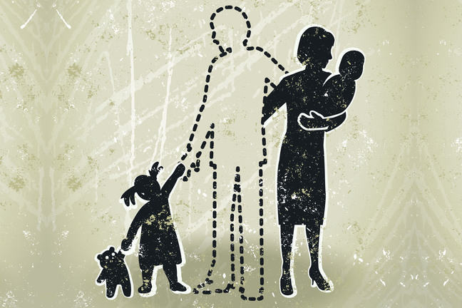 A family portrait with the male figure cut out. Illustration.