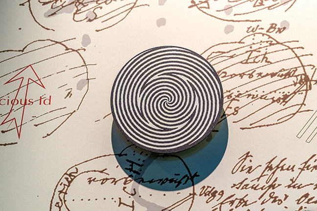 A close-up shot of an art installation by Pippa Skotnes - a black white disk with sketches in the back ground