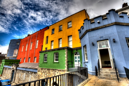 A row of multicoloured houses, Dublin.