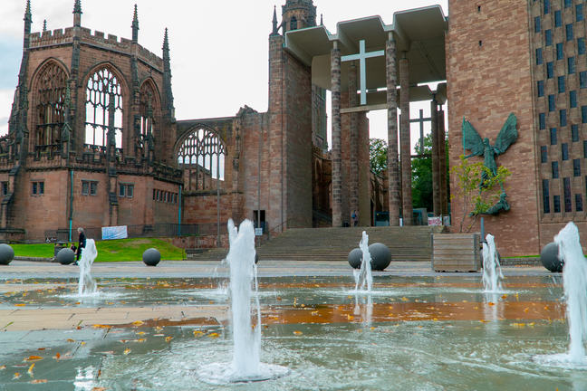 Fountains and buildings at Coventry University