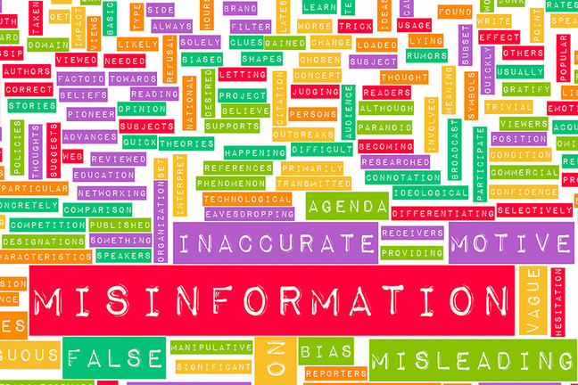 Misinformation and the Spread of Fake News with many other words in a stylised word cloud.
