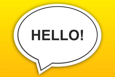 Speech bubble with the word hello