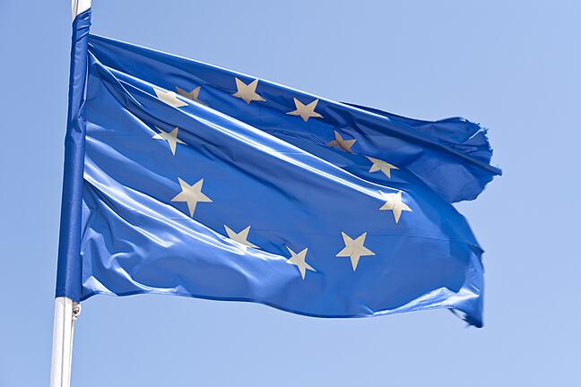 European Flag flying on a pole