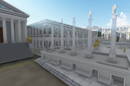 A digital render of the Fora. White buildings with large columns on the front of each one.