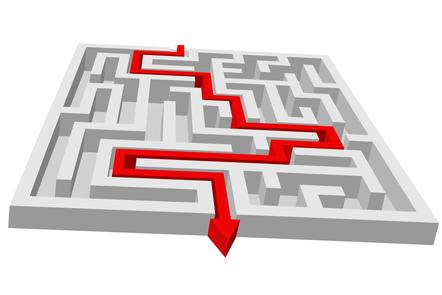 An arrow going through a maze