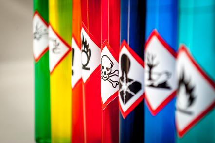 Range of chemical hazard stickers