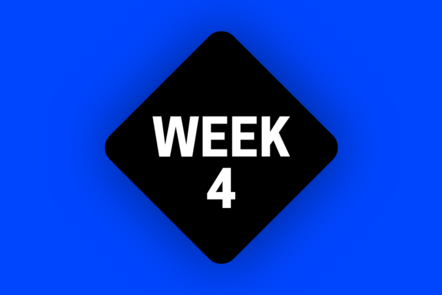 An icon that says WEEK 4 on a blue background