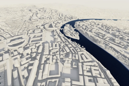 An aerial shot of the Rome digital model with no colour to the buildings, which look like white blocks