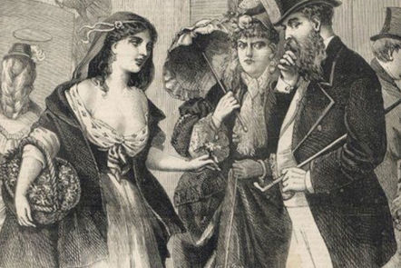 A Victorian prostitute catches the eye of a married male passer-by.
