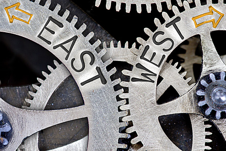 The gears of Eastern and Western thought spin in different directions. Can they become compatible?