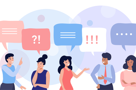 Illustration of people discussing with speech bubbles