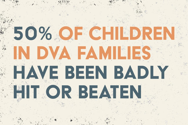 50% of Children in DVA Families have been badly hit or beaten