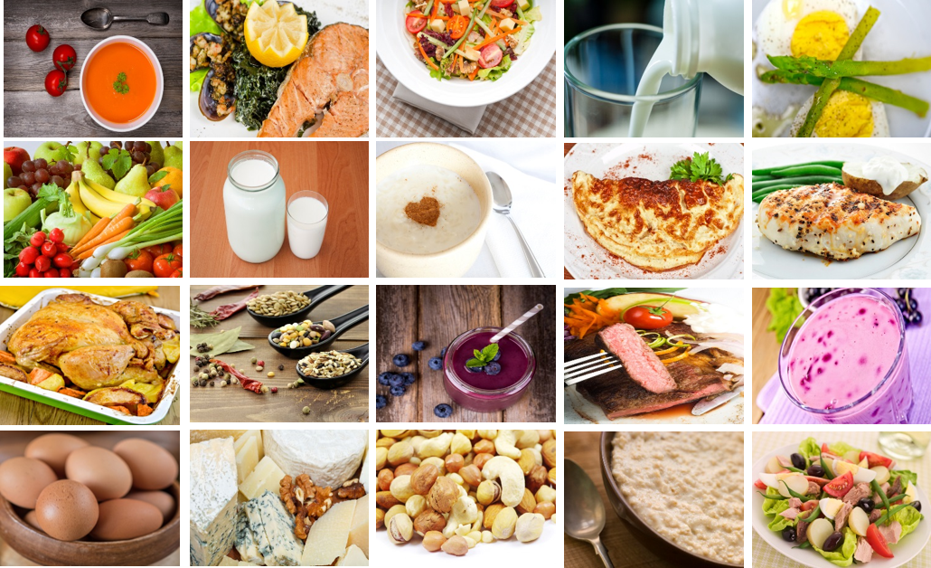 A collage of different types of healthy foods.