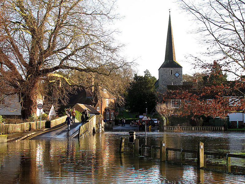 A village with a flooded bridge