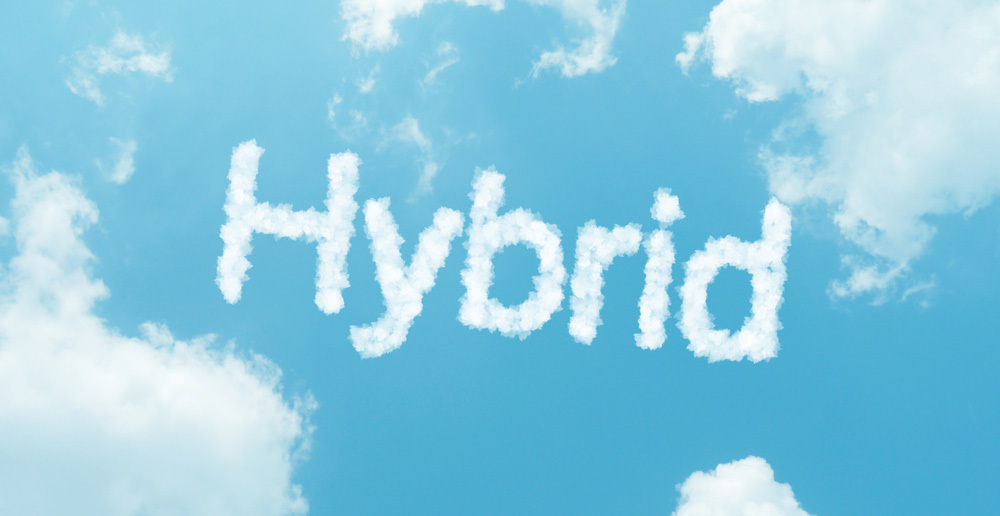 Clouds spelling out 'Hybrid'