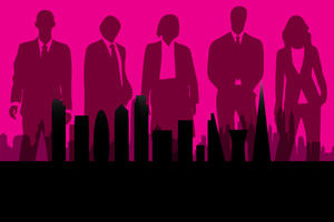 silhouettes of tall buildings, in front of silhouettes of five people wearing suits, on a pink background.