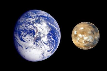 A composite image of Earth and Mars showing their relative sizes. Earth (on the left) is larger than Mars (on the right).