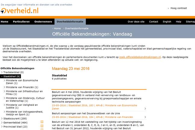 Staatsblad op officielebekendmakingen.nl