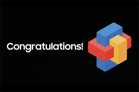 A yellow, red and blue cluster of blocks with the word 'Congratulations!' on a black background
