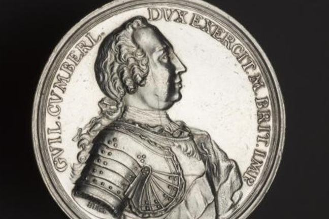 Silver medal showing the Duke of Cumberland  in profile with curled wig, wearing breastplate armour, issued on the Defeat of the Jacobite Rebellion