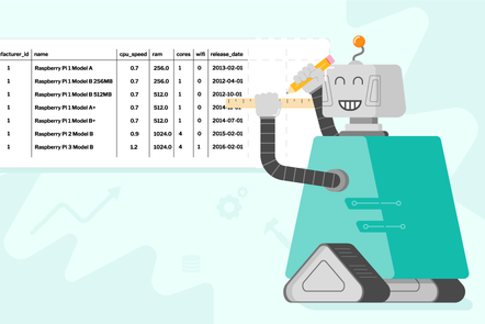 A robot drawing more columns at the end of a database table