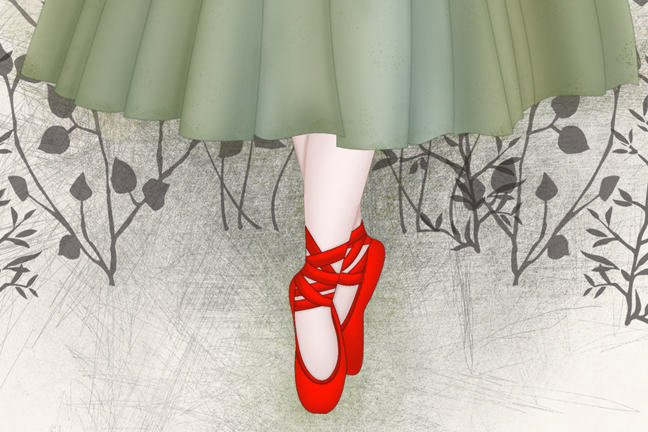 Image of a pair of feet in red ballerina shoes