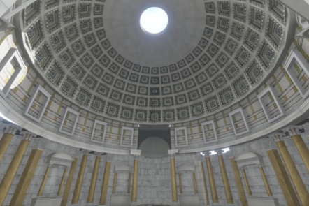 A digital recreation of the inside of the Pantheon, with its domed roof