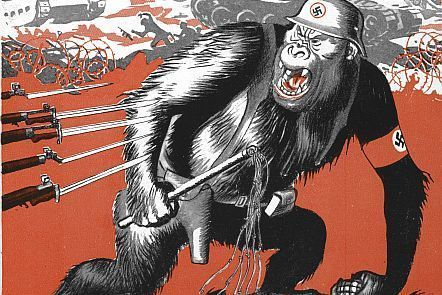 Ministry of Information publication c.1941 - The Battle for Civilisation. Gorilla in Nazi hat being attacked with knives.