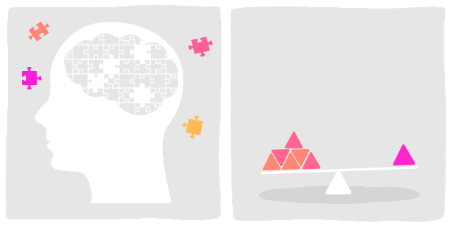 image 1. Illustration of a silhouette of a head with a brain made up of jigsaw pieces. A few pieces are missing and they circle the head. image 2. Illustration of a set of balancing scales with blocks of different sizes