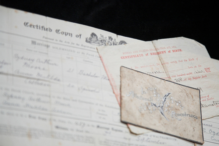Old family certificates and documents