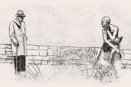 Illustration of Ezra Pound visiting James Joyce's grave.