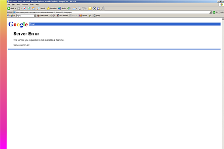 JULY 26, 2004: This screen grab shows a server error message widely encountered when using the Google search engine page. Google, on the verge of offering publicly-traded stock, was reportedly affected by a computer virus.