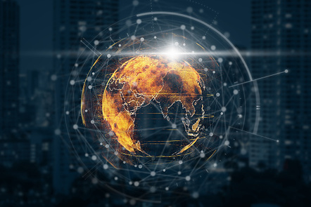 particle earth with technology network circle over the photo blurred of cityscape background, technology and innovation concept