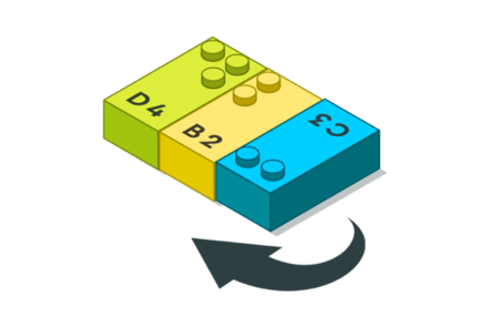 Drawing of a LEGO Braille Bricks, showing how to turn one in the correct position