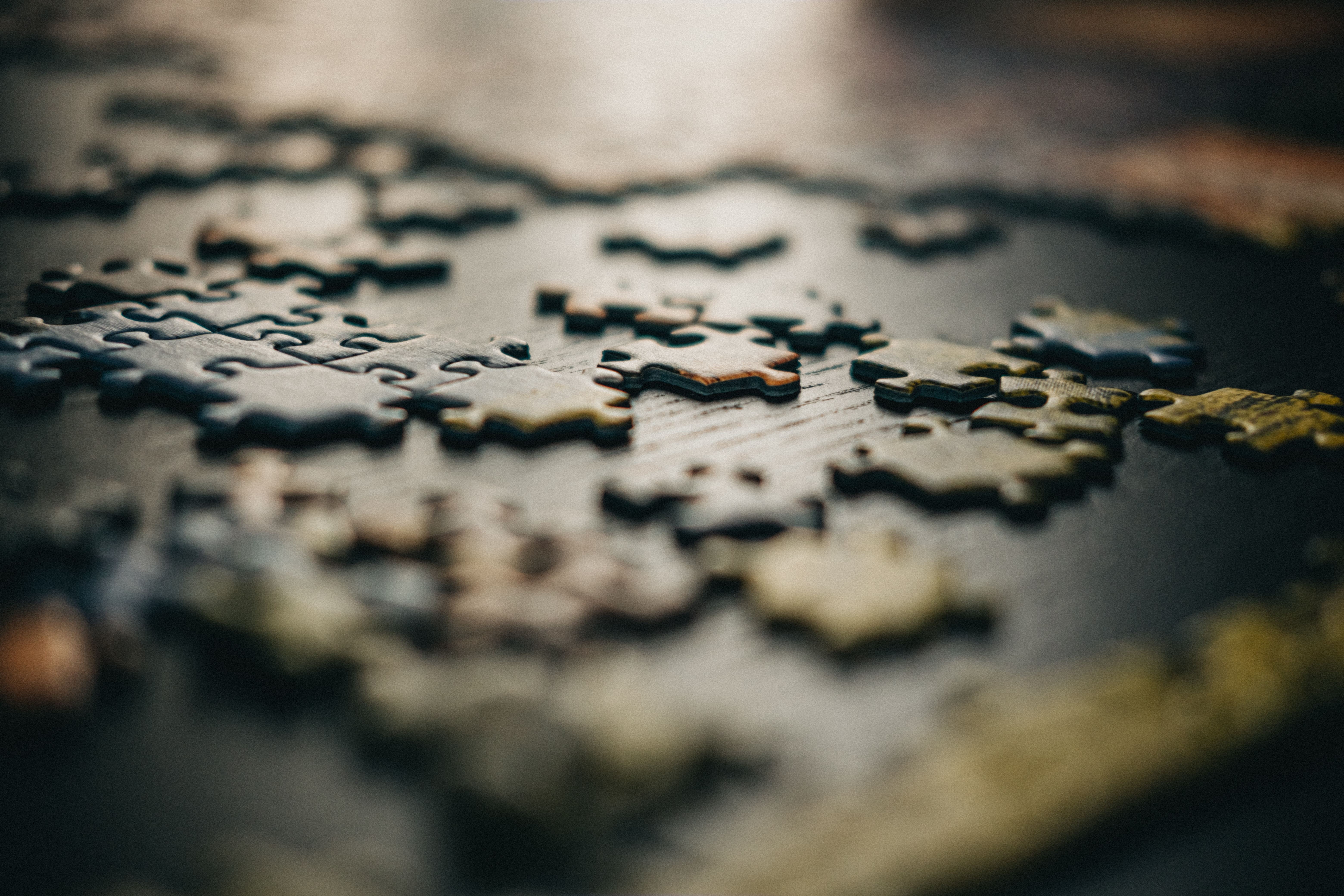 Puzzle pieces on a board
