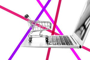 Laptop and shopping trolley