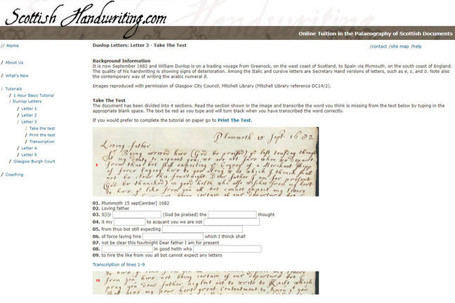 Screenshot of scottishhandwriting.com