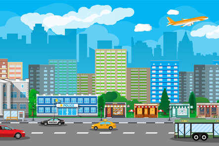 A colourful city graphic showing public amenities at work. Two aeroplanes, a taxi, a public bus, and buildings such as a bank, a police station and a cathedral can be seen in the foreground. The background is made up of high-rise buildings' silhouettes.