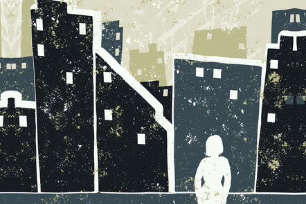 A woman stands alone facing a city skyline. Illustration.