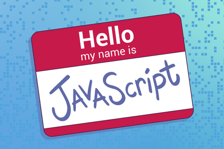 A name badge with 'Hello my name is JAVAScript' printed on it