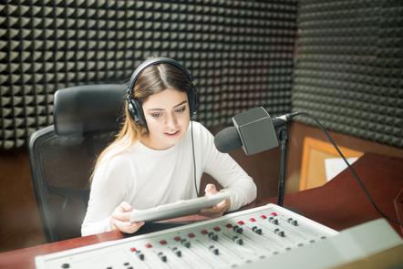 Woman hosting a live show on radio