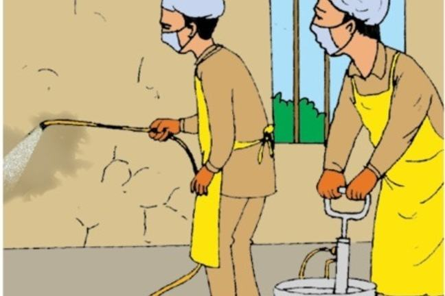 An illustration of two men undertaking indoor residual spraying, wearing protective clothing