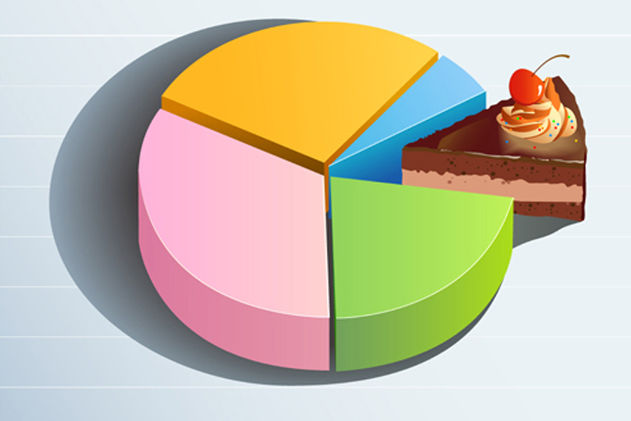 Pie chart with one slice represented as a cake